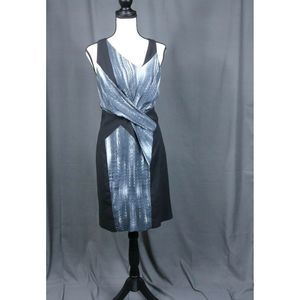 Helmut Lang Black Size 4 Gray White Silk Dress